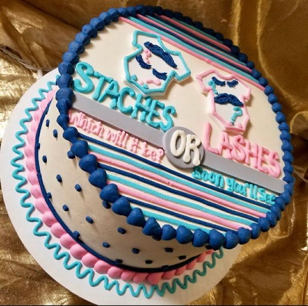 Picture baby reveal Bakery Specialty Cakes Dallas NC Gastonia NC